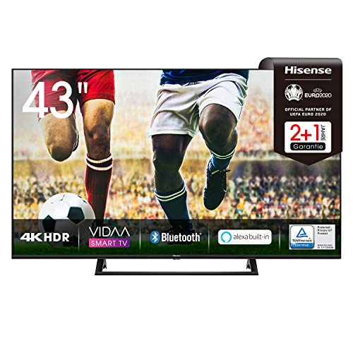 Hisense 43AE7200F 108 cm (43 Zoll) Fernseher (4K Ultra HD, HDR, Triple Tuner DVB-C/ S/ S2/ T/ T2, Smart TV, Mittelstandfuß, Frameless, Bluetooth, Alexa),schwarz