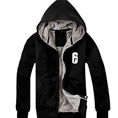 Xcoser Herren Kapuzen pullover Winter Hoodie Plus Samt Verdicken Schwarz Jacke Baumwolle Sweatshirt Kleidung für Cosplay Kostüm