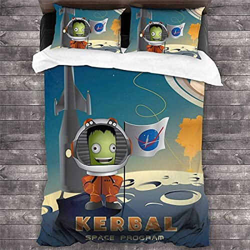 Kerbal Space Program Kinder Bettwäsche-Sets,Jebidiah Kerman Astronaut Motiv Bettbezug,KSP Bob Kerman Mikrofaser Bettwaren-Sets (KSP1, Single135x200)