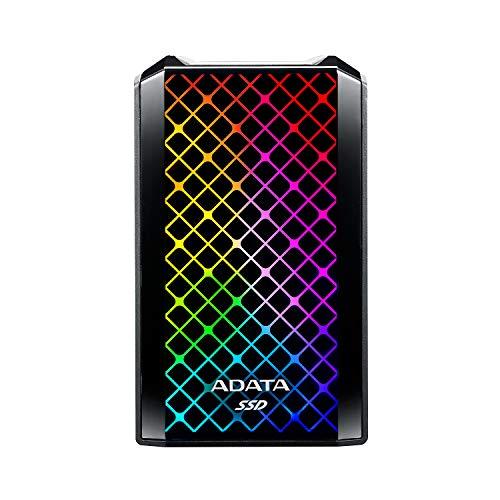 ADATA RGB SE900 512GB USB 3.2 Gen2x2 Type-C Super schnelle Übertragung bis zu 2000/MB/s Gaming und Personal externe SSD (ASE900G-512GU32G2-CBK)