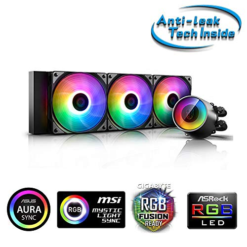 DeepCool Castle 360 RGB V2 Kühlsystem Anti-Leak 360mm Kühler RGB Rainbow Addressable 5V ADD RGB 3-Pin kompatibel mit Intel 115X/2066 und AMD TR4/AM4