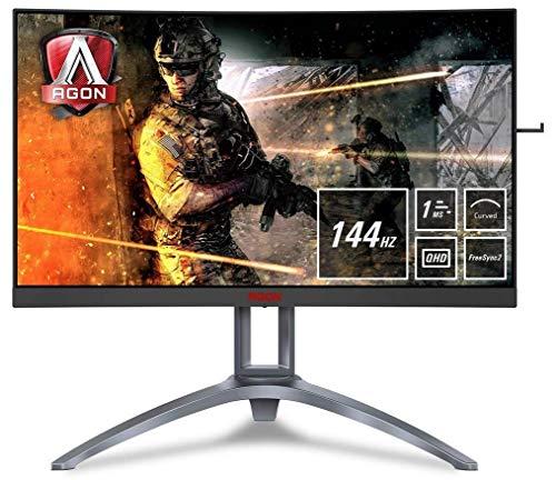 AOC AGON AG273QCX - 27 Zoll QHD Curved Gaming Monitor, 144 Hz, 1ms, HDR400, FreeSync Premium Pro (2560x1440, HDMI/DisplayPort, USB Hub) schwarz/rot