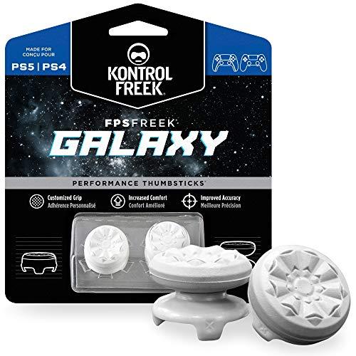 KontrolFreek FPS Freek Galaxy Weiß für PlayStation 4 (PS4) und PlayStation 5 (PS5) | Performance Thumbsticks | 1 x Hoch, 1 x Mittel | Weiß