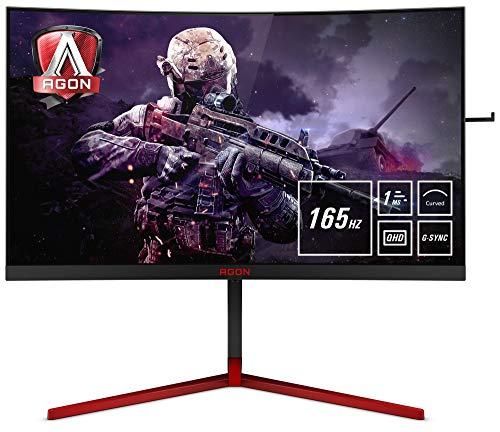 AOC AGON AG273QCG 68 cm (27 Zoll) Curved Monitor (HDMI, DisplayPort, USB Hub, G-Sync, 1ms Reaktionszeit, 2560 x 1440, 165Hz) schwarz/rot