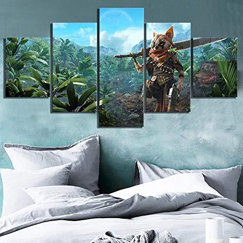 ZLARGEW Moderne Kunst Wanddekoration 5 Stück HD gedruckt Biomutant Spiel Poster Wandkunst Leinwandbilder für Wohnkultur-30x40cm 30x60cm 30x80cm ohne Rahmen