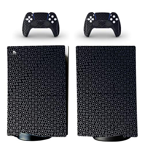 PlayStation 5 Digital Black PS Logo Days of Play Console Skin, Decal, Vinyl, Sticker, Faceplate - Console and 2 Controllers - Protective Cover New PS5 Digital